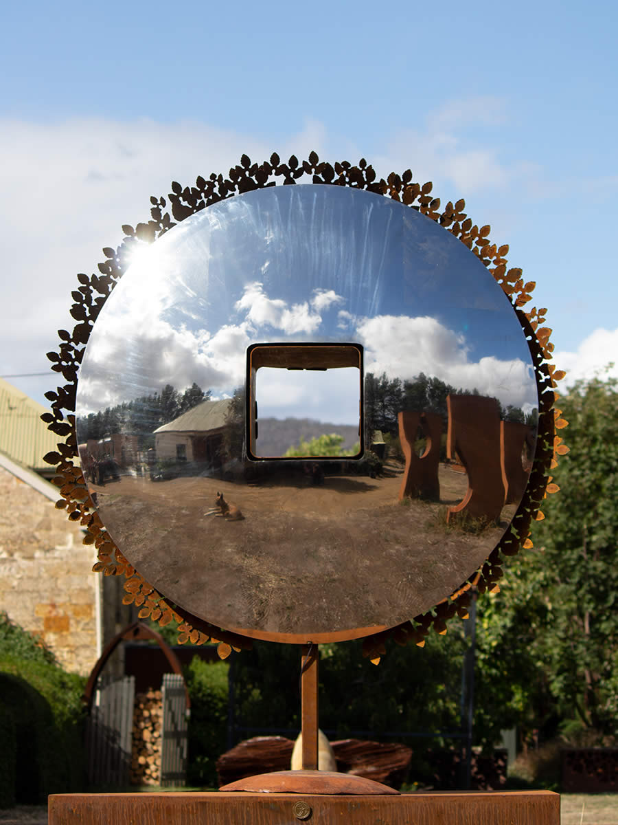 1.7m diameter stainless steel, corten steel, LED, double sided